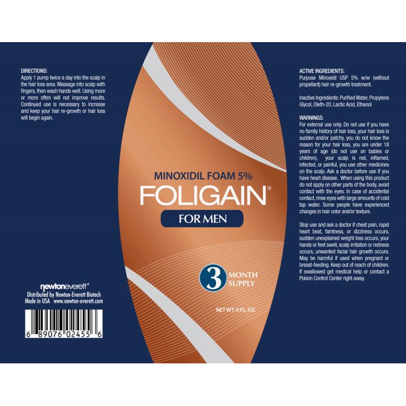 Foligain Minoxidil 5 % Пяна за мъже срещу косопад 177 мл